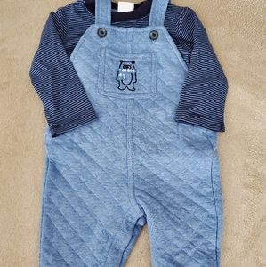 Gymboree quilted bear overalls + tee